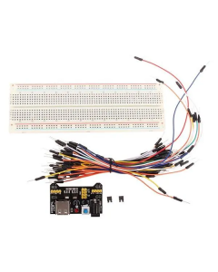 Breadboard, jumper cables, USB power connector