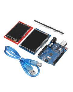 Geekcreit UNO R3 med USB-sladd och två TFT-pekskärmar på 2,8 respektive 2,4 tum